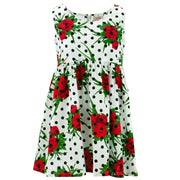 The Shroom Dress - Polka Dot Roses White