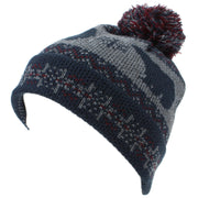 Childrens Fine Knit Bobble Beanie Hat with Polar Bear Print - Navy & Maroon