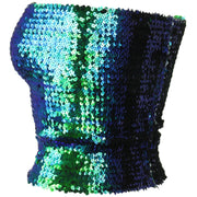 Sequin Strapless Top - Green