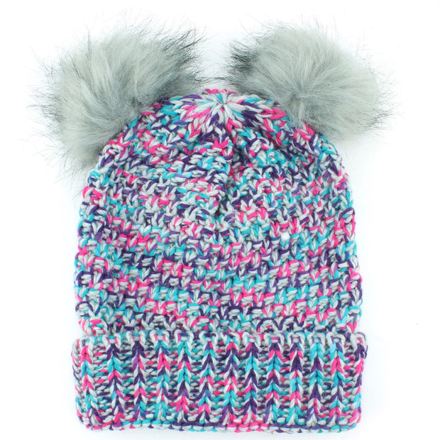 Childrens Chunky Knit Multicoloured Beanie Bobble Hat - Grey