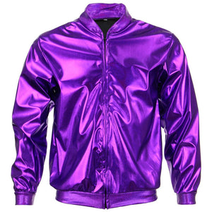 Unisex Shiny Bomber Jacket - Purple