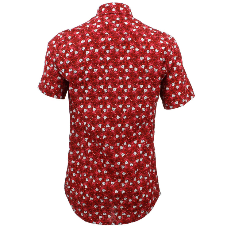 Tailored Fit Short Sleeve Shirt - Red Cats & Fish
