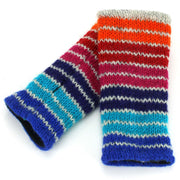 Wool Knit Arm Warmer - Stripe Blue