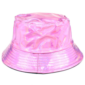 Shiny Metallic Bucket Hat - Baby Pink