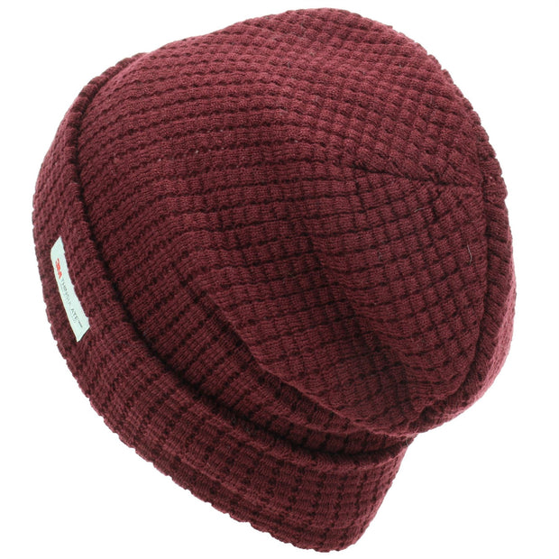 Knitted Waffle Design Beanie Hat - Red