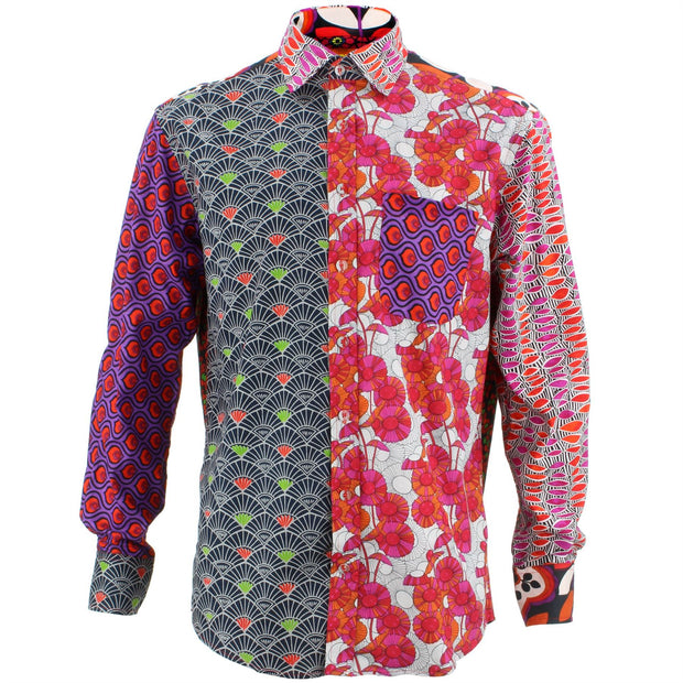 Regular Fit Long Sleeve Mixed Panel Shirt - Warm Mix