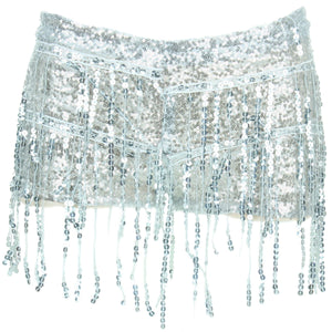 Sequin Tassel Hot Pants - Silver