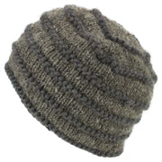 Chunky Ribbed Wool Knit Beanie Hat with Space Dye Design - Oatmeal
