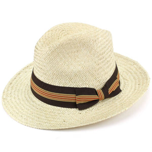Wide Brim Straw Panama Fedora Hat - Brown