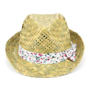 Straw Trilby Fedora Hat with Floral Print Band - Red
