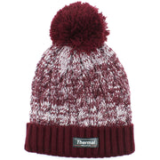 Childrens Thermal Lined Beanie Bobble Hat - Maroon