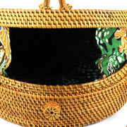 Loud Elephant Handwoven Round Rattan Bag - Loop