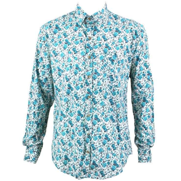 Regular Fit Long Sleeve Shirt - Small Turquoise & Green Floral on White