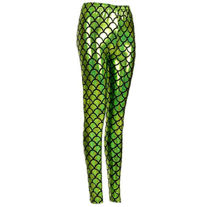 Shiny Fish Scale Leggings - Green