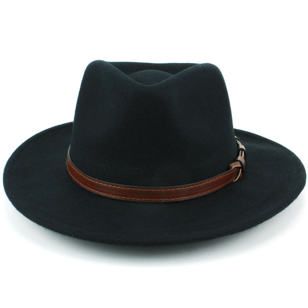 Wool Fedora Hat with Faux Leather Band - Black