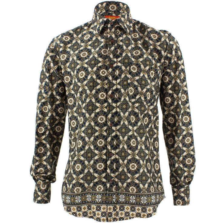 Tailored Fit Long Sleeve Shirt - Black White & Gold Abstract