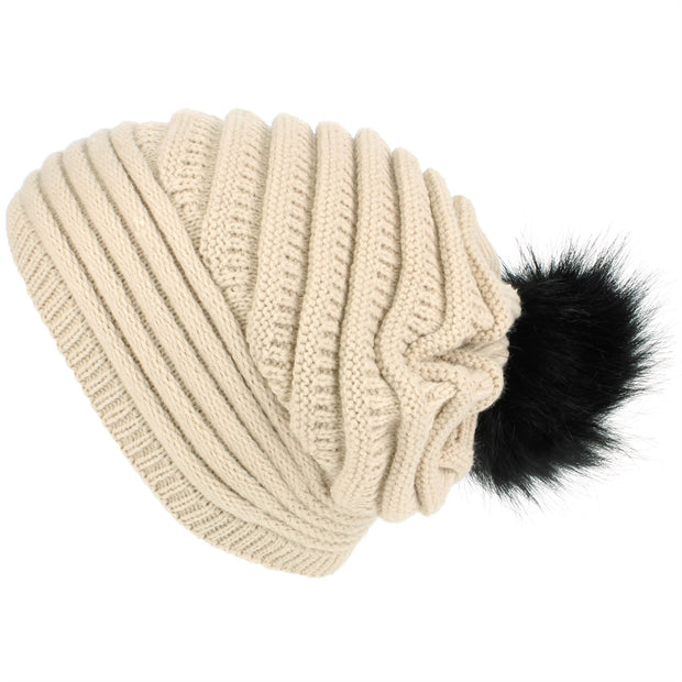 Chunky Ribbed Slouch Beanie Hat with Faux Fur Bobble - Beige
