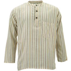 Cotton Grandad Collar Shirt - Cream Stripe