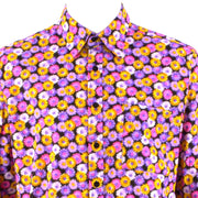 Regular Fit Long Sleeve Shirt - Pink & Yellow Floral on Black