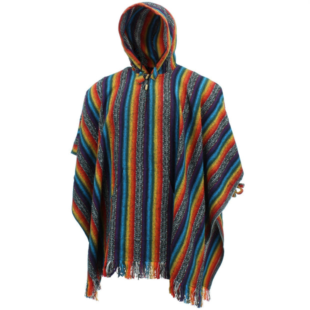 Brushed Cotton Hooded Poncho - Rainbow