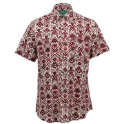 Tailored Fit Short Sleeve Shirt - Brown & Red Block Print