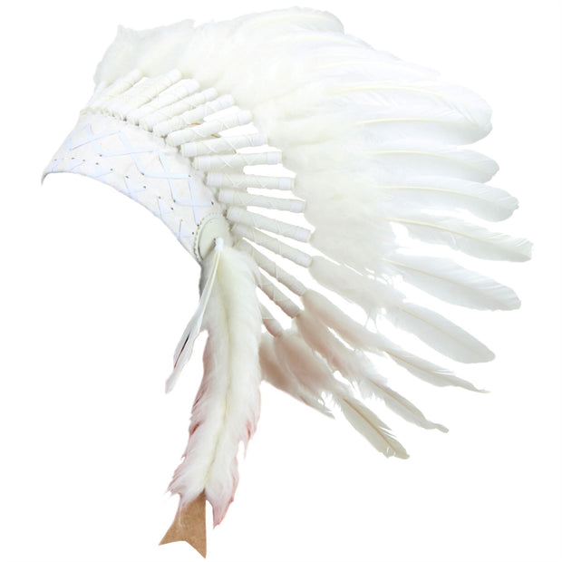 Native Amercian Chief Headdress - White