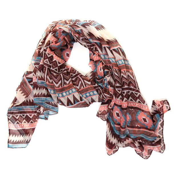 Lightweight Aztec Print Scarf Shawl Wrap - Brown