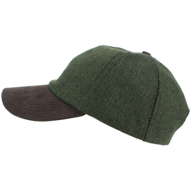 Wool Tweed Herringbone Baseball Cap - Brown
