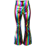 Shiny Metallic Flares Trousers - Rainbow