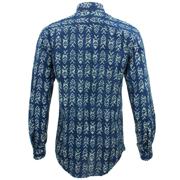 Tailored Fit Long Sleeve Shirt - Block Print - Fish