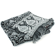 Acrylic Wool Shawl Blanket - Black Paisley - Hearts