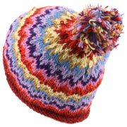 Chunky wool knit 'Zig-Zag' beanie bobble hat - Multicoloured