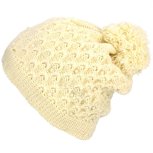 Pearl Lattice Bobble Beanie Hat - Cream