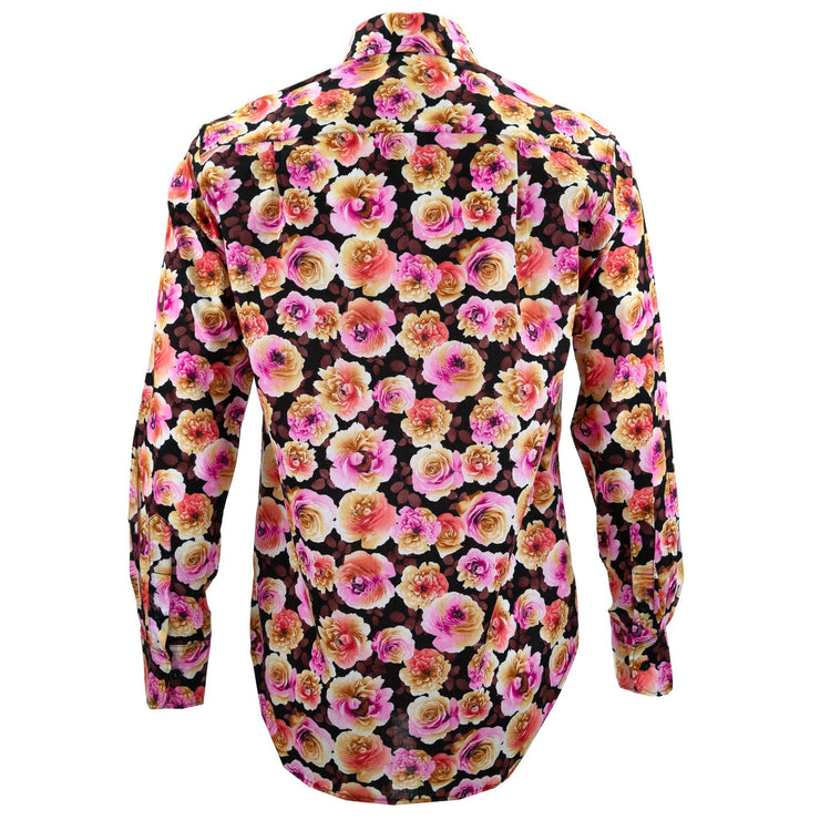 Regular Fit Long Sleeve Shirt - Blooming - Black Pink