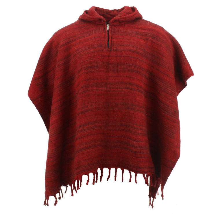 Hooded Square Poncho - Dark Reds