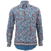 Tailored Fit Long Sleeve Shirt - Blue & Orange Abstract