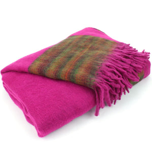 Tibetan Wool Blend Shawl Blanket - Pink with Green & Red Reverse