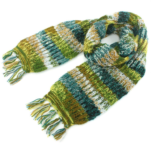 Chunky Wool Knit Abstract Pattern Scarf - Green