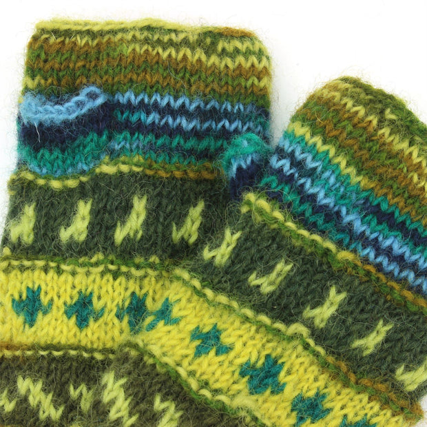 Wool Knit Arm Warmer - Tik Tik - Green