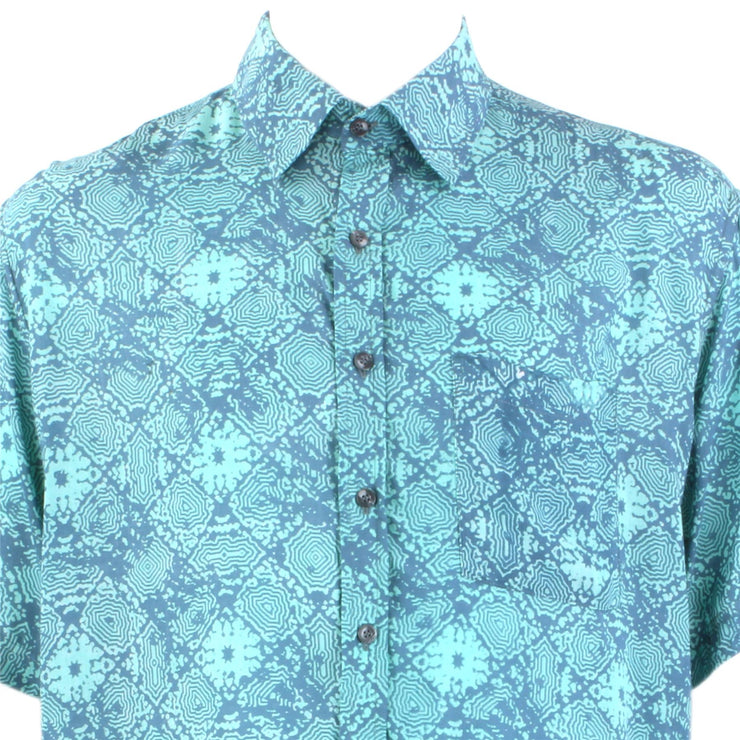 Regular Fit Short Sleeve Shirt - Turquoise Abstract