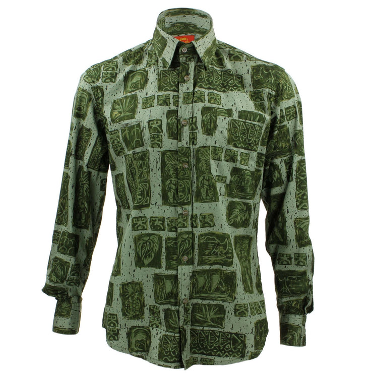 Tailored Fit Long Sleeve Shirt - Green Abstract