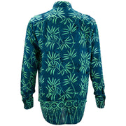 Regular Fit Long Sleeve Shirt - Tropical Leaf - Petrol