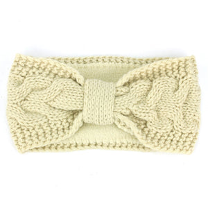 Knitted Bowknot Ribbed Headband - Cream