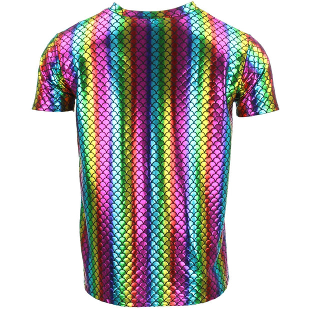 Shiny Mermaid Scale T-Shirt - Rainbow