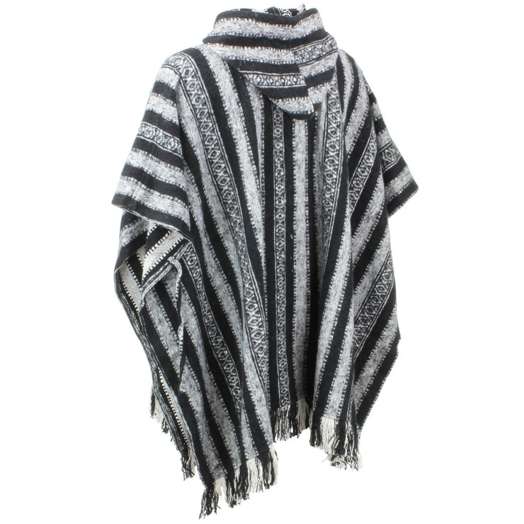 Brushed Cotton Hooded Poncho - Black White