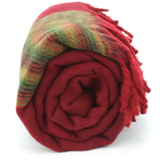Tibetan Wool Blend Shawl Blanket - Red with Green & Red Reverse