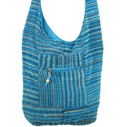 Striped Chenille Sling Shoulder Bag - Light Blue