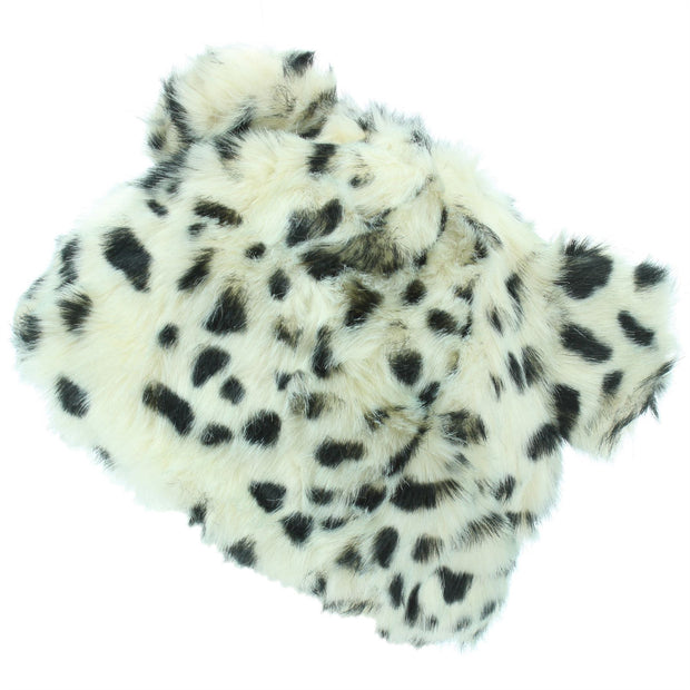 Animal Print Beanie Hat with Ears - White