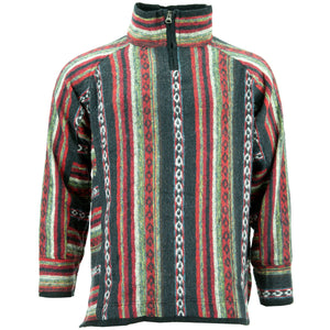 Fleece Lined Brushed Cotton Jacket Cardigan - Black Red