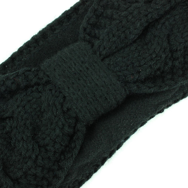 Knitted Bowknot Ribbed Headband - Black